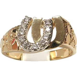 SALE 14k Yellow Gold Diamond Double Horseshoe Ring for Him