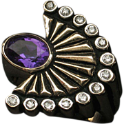 "SALE VALENTINES SALE! 14k ""La Mer"" Amethyst Diamond Ring by ERTE - Collector's Delig"