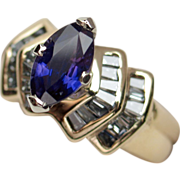 SALE VALENTINES! Captivating Unheated Color-Change Sapphire & Diamond Ring