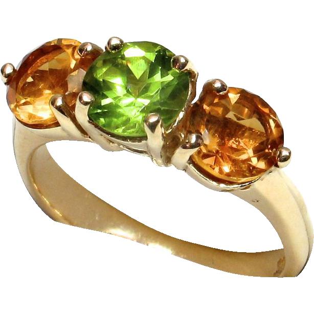 LDL SALE! Stunning 14k Yellow Gold Citrine Peridot Ring