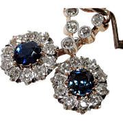 SALE VALENTINES! STUNNING 2.08ct Antique Edwardian Sapphire & Diamond Earrings