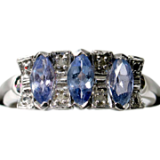 SALE VALENTINES! SAVE 50%! Lavender Tanzanite Diamond Ring in 14k White Gold