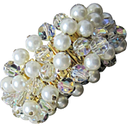SALE 50% off Vintage faux pearl and crystal  bracelet