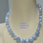 SALE Sale 50% Vintage blue moonglow beads single strand