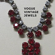 SALE Sale 50% Vintage red and clear rhinestone prom necklace
