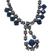 SALE Sale 50% Vintage blue and clear rhinestone prom necklace