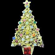 Vintage Christmas tree pin multicolor round rhinestones