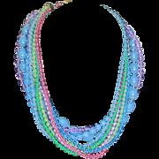 SALE SALE Vintage colorful nine strand plastic necklace