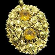 SALE Vintage pendant brass & amber glass