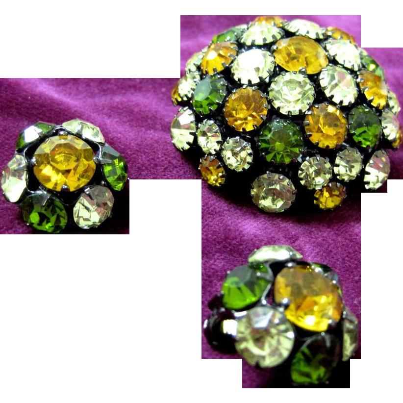 SALE Vintage domed fall colors rhinestone pin set