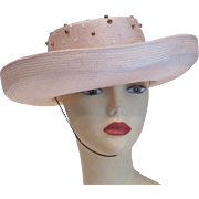 SALE Vintage Whittall & Shon cream beaded sequinned straw hat