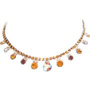Vintage  rhinestone aurora borealis choker necklace