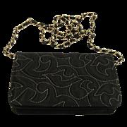 Vintage Italian black satin evening clutch purse from Saks