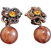Vintage costume  earrings amber rhinestones bronzed metal