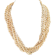 Vintage triple strand gold tone link chain necklace