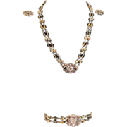 Vintage Dauplaise iridescent golden glass bead and rhinestone full parure