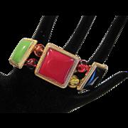 Vintage multicolor enamel stretch bracelet
