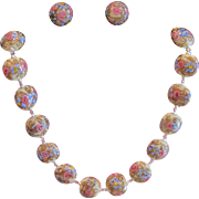 Vintage Italian Murano Glass Wedding Cake Beads Necklace with earrings