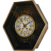 "REDUCED Antique French, ""Marti & cie"" Boulle Inlaid Picture Frame  Wall Clock"