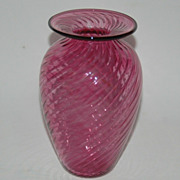 Cranberry Art Glass Vase, Swirled design