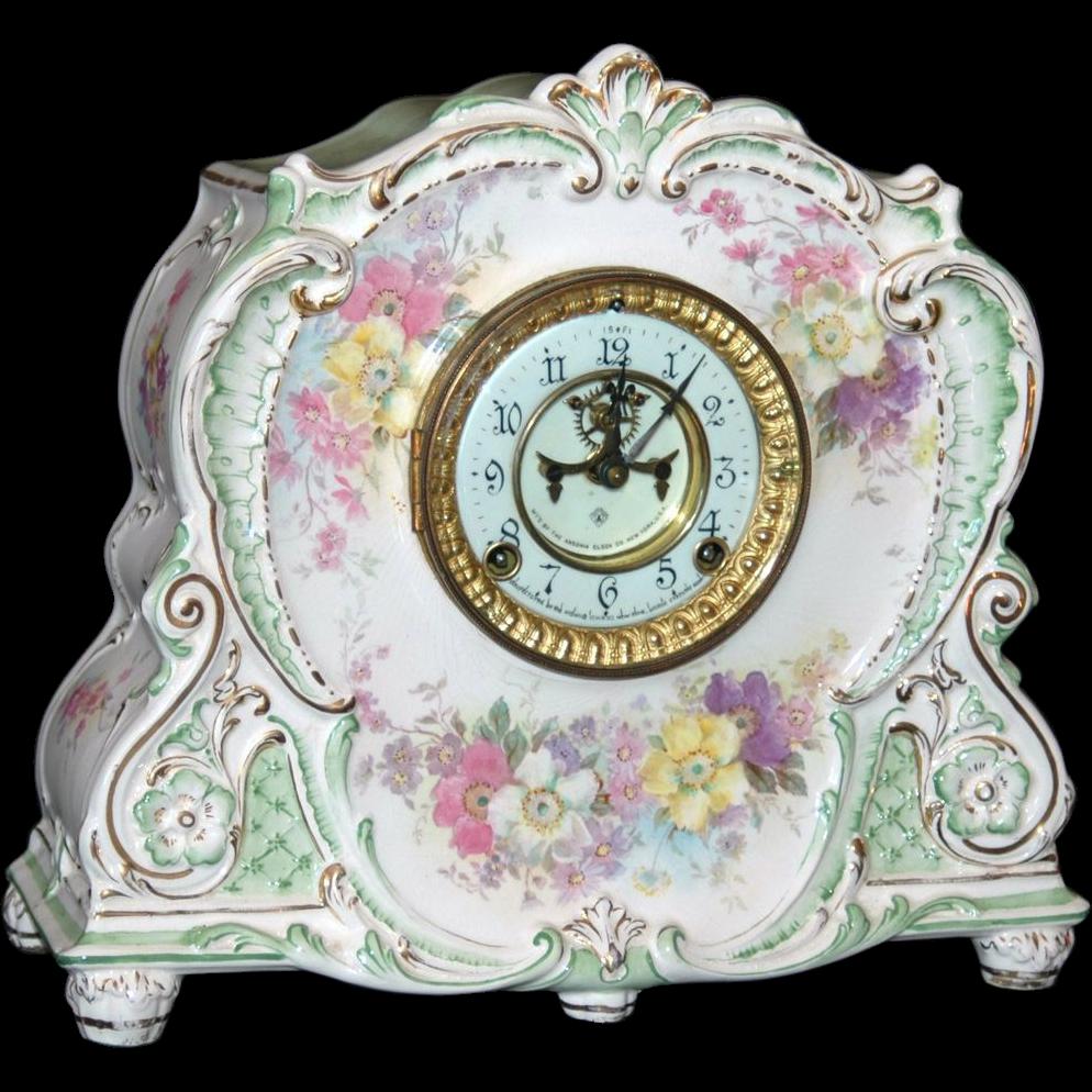 Antique Ansonia Royal Bonn Porcelain Mantel Clock