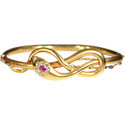 SALE Antique Ruby and Diamond Snake Bangle c.1890, 18k Gold