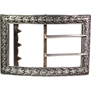 SALE Antique Art Nouveau French Silver Belt Buckle c. 1890