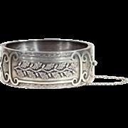 SALE Antique Victorian Acorn and Oak Leaf Sterling Silver Bangle Bracelet, Birmingham 1886