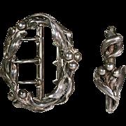 Antique French Art Nouveau Mistletoe Silver Belt Buckle - Clearance Sale