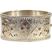 Antique Victorian Sterling Silver Bangle Bracelet with Rose Gold Floral Motif and Bold Frame