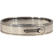 Engraved Sterling Silver Buckle Bangle with Unique Button Closure, Birmingham 1865