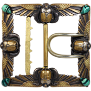Antique Egyptian Revival Belt Buckle by Piel Fréres, c. 1880