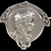 SALE Antique Art Nouveau French Silver Brooch Pin