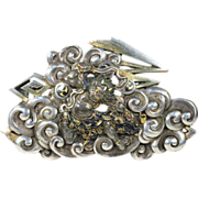 SALE PENDING Large and Rare Antique Shakudo Brooch featuring Raijin, God of Thunder