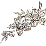 SALE Vintage English Paste Floral Spray Brooch in Silver by SCP Ciro Pearls, Sparkly and Artic