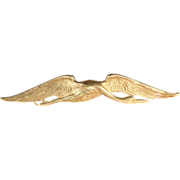 SALE French Bloomed Gold Crane in Flight Brooch Pin in 18k Gold