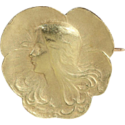 SALE Antique French Art Nouveau Brooch by Felix Rasumny in 18k Gold, c. 1900