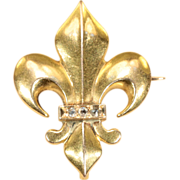 Antique 18k Gold Fleur-de-Lis Brooch Pin Watch Hanger with Rose Cut Diamonds