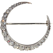 Antique 2.5 ctw Diamond Crescent Moon Brooch in 18k Gold, c. 1890