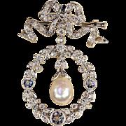 Edwardian Diamond, Pearl and Platinum Pendant Brooch, Garland Era Convertible