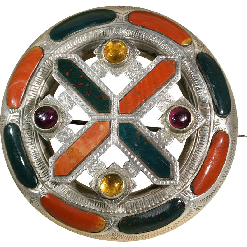 Impressive Antique Scottish Agate Citrine and Amethyst Saint Andrew's Cross Brooch/Pin c.1870