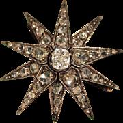 Fantastic Antique Diamond Starburst Brooch with .8ct Cushion Cut Center