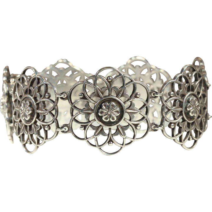 Vintage Liberty & Co. Sterling Silver Bracelet with Gold Clasp