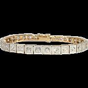 Edwardian Diamond Line Bracelet in 18k and Platinum, 7ctw