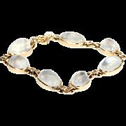 Vintage Art Deco Moonstone Bracelet in 14k Gold