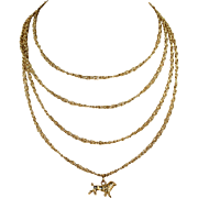 Antique French Long Guard Chain with Poodle Charm in 18k Gold
