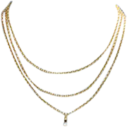 Smooth Link Antique French Hand Crafted Long Guard Chain in 18k Gold, 61 inches long