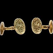 SALE Antique French Art Nouveau Cufflinks with Cyclamen Flower Motif in 18k Gold
