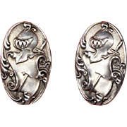 SALE Antique Unger Bros. Sterling Silver Cufflinks with Knight and Armor Motif, c. 1900
