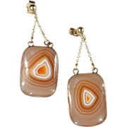 SALE Victorian Natural Agate Earrings in 9k Gold